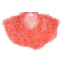 River Island Womens Coral Marabou feather collar