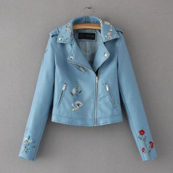 PEAPUF3 Fashion Floral embroidery leather lapel jacket lady's jacket (5 color)