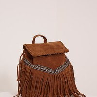 Preya Tan Faux Suede Aztec Fringed Backpack - Bags & Purses - PrettylittleThing | PrettyLittleThing.com