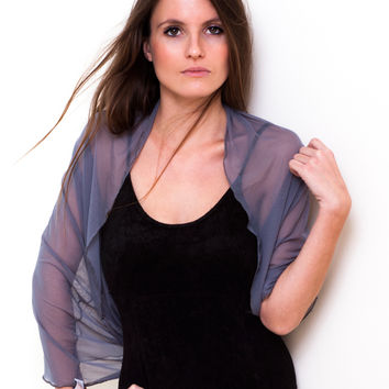 Grey Sheer Infinity Shrug
