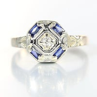 Art Deco sapphire Ring, 10K gold Diamond Ring, Engagement Octagon Size 5.5 antique jewelry