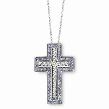 Sterling Silver Dec. CZ Birthstone Message of the Cross 18in Necklace