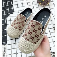 LV GUCCI Summer Popular Women Casual Print Slippers Sandals Flats Shoe White I12205-1