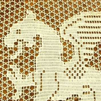 The White Dragon - Fantasy Art - Filet Crochet Art Decor - Fiber Art