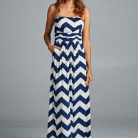 Ocean Breeze Maxi Dress - Navy