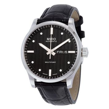 Mido Multifort Automatic Black Dial Black Leather Mens Watch M0054301603181