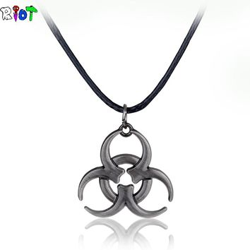 Movie Biohazard leather chain Necklace Vintage Pendant Fashion Men Woman Jewelry Medical Waste Logo Resident Evil in Ancient