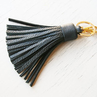 READY TO SHIP Leather Tassel Keychain Black Tassel Key Ring With Clasp Gold Accessorie For Bag Tassel Charm Gift for Her