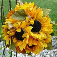 Weddings, Bridal Bouquet, Kissing Ball, Sunflower Pomanders, Wedding Flowers