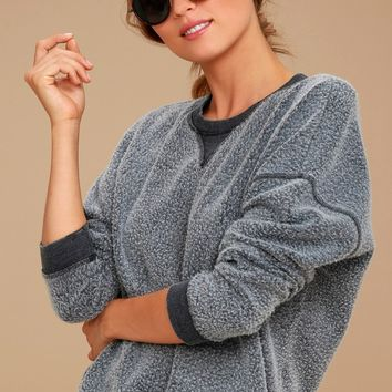Sweet Embrace Charcoal Grey Cropped Sweatshirt