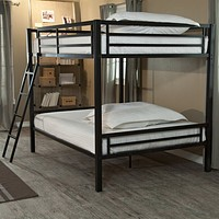 Full over Full Bunk Bed with Ladder & Safety Rails in Black Metal Finish