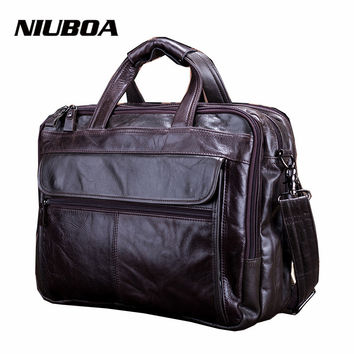 NIUBOA New Fashion Genuine Leather Men Bag 100% Natural Cowhide Shoulder Bag Messenger Pack Causal Handbag Male Laptop Briefcase