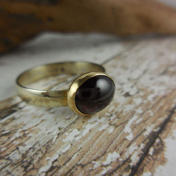 Sterling Silver Garnet Gemstone Two-Tone Ring