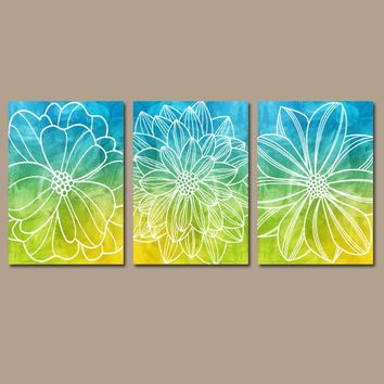 FLOWER OMBRE Wall Art, Floral Bedroom Wall Decor, Blue Lime, CANVAS or Prints, Floral Bathroom Decor, Blue Green Flower Decor, Set of 3