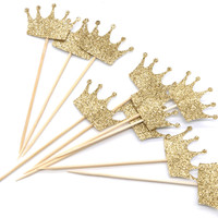 PuTwo Cake Toppers 10 Counts Handmade Gold Crown Shape Wedding Birthday Party Cake Decorating - Gold