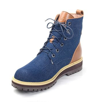 LFMON UGG 1004844 Tall Lace-Up Men Fashion Casual Wool Winter Snow Boots Blue
