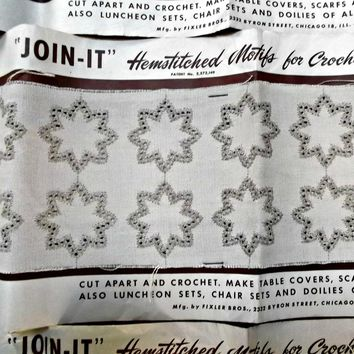 Vintage Hemstitched Motifs For Crochet Join-It Starlight Pattern Table Covers Doilies Ecru