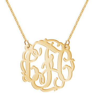 Monogram Necklace Hand Made Custom  Monogram Initials Personalized K Party Gold Tone Jewelry     Pendant   Bracelet   Earrings  Keychains