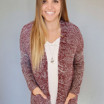 First Snow Pocket Cardigan Burgundy