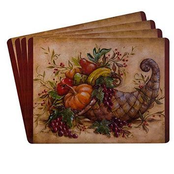 Sheffield Home Protective Decorative Cork Backed Placemats (Set of 4) Thanksgiving