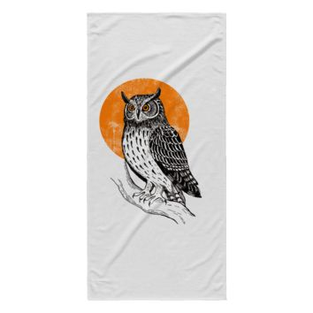 "Owl Beach Blanket White Color 30"" x 62"" 100% Polyester"