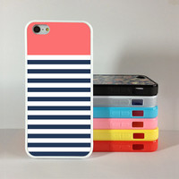 navy blue iPhone 5c Case,stripe iphone 5s cover,iPhone 5c 5s Hard Case personalize ,cover skin case for iphone 5c/5s case, Silicon Rubber