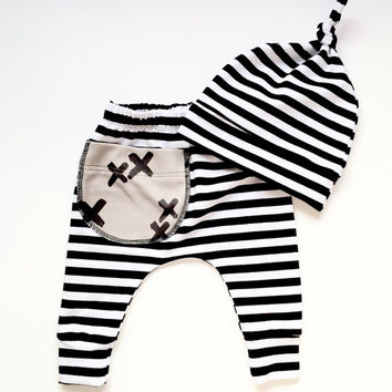 Baby Pants and Hat Set,Baby clothes, baby leggings, baby pants, toddler pants,stripe leggings,baby stripe pants,baby