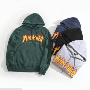 """""""THRASHER"""" Fashion High Quality  Print Flame Movement  Hooded Sweater"""