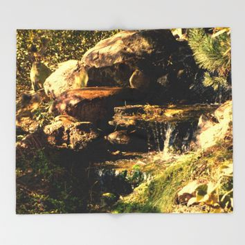 Fall Waterfall Throw Blanket by Theresa Campbell D'August Art