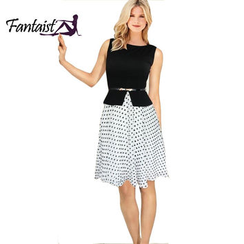 New Fashion Women Summer Vintage Dots Ball Gown Elegant Evening Party Formal Work Wear Office Plus Size Tunic Peplum Dress S-XXL