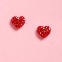 Ruby'n Hood Red Heart Earrings