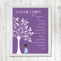 Personalized Girl Prayer Tree Print Girl Nursery Decor Multiple Ethnicities Wall Art Children Verse Prayer CANVAS or Prints Baby Shower Gift