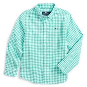 Vineyard Vines Great Harbour Gingham Whale Woven Shirt (Toddler Boys & Little Boys) | Nordstrom