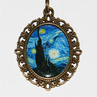 Starry Night Van Gogh Pendant Necklace