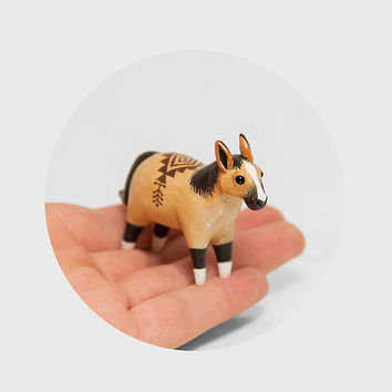 RESERVED for Savannah Tribal Horse Figurine OOAK Handmade Polymer Clay Animal Totem
