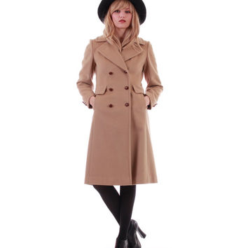 Anne Klein Wool Coat Double Breasted Tan Midi Winter Outerwear Chic Minimalist Mod Retro 80s 90s Vintage Clothing Womens Size Small Medium