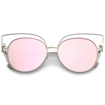 Women's Oversize Laser Cut Mirrored Flat Lens Sunglasses C085