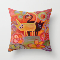 Tails and Cats Throw Pillow by Marianna Tankelevich | Society6