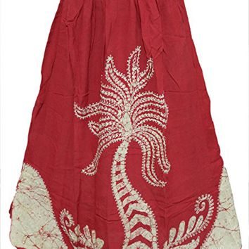 Mogul Womens Boho Skirts Flowing Bohemian Red Embroidered Skirt S