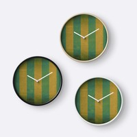 'Vintage green striped deck chair cover' Clock by steveball
