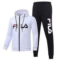 FILA 2018 autumn and winter new plus velvet sports and leisure two-piece White