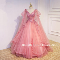 V-neck Sleeveless Prom Dress 2017 Hand Made Beaded Lace Applique Prom Party Dress Bridal Wedding Party Gown Mesh Tulle Prom Dress with Cape