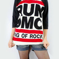 RUN DMC King Of Rock Hip Hop Punk Women Shirt Men Shirt Unisex Shirt 3/4 Long Sleeve Shirt Jersey Shirt Raglan Shirt Baseball T-Shirt Size L