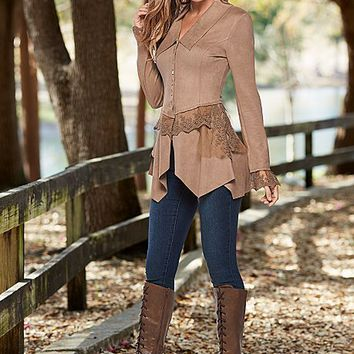 %PC% Faux suede and lace jacket, skinny jeans, boots from VENUS