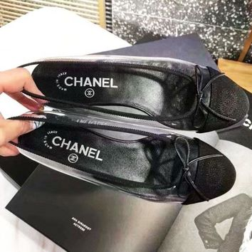 Chanel Women Men Sandals Transparent shoes jelly shoes B-ALS-XZ Black