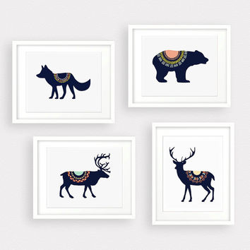 Wolf Deer Bear Moose Tribal 4 Digital Art Print Instant Download, Forest Art Print, Nursery Art Print Wall Art , Tribal Art, Mountain Decor