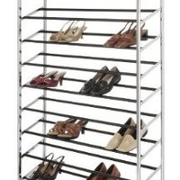 Whitmor 50 Pair Rolling Shoe Rack, Chrome