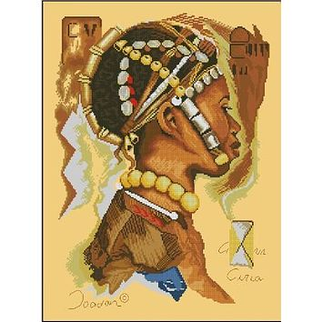 Top Quality Lovely Popular Counted Cross Stitch Kit African Man Africa People 35099