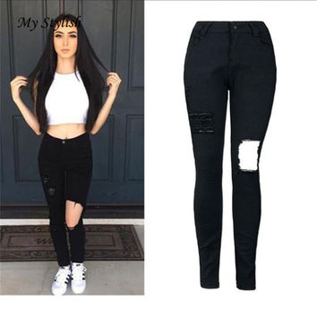 Cheap Price  Hot 2017 New Fashion Ladies Women High Waist Denim Skinny Ripped Pants Stretch JeanSlim Pencil High Quality Dec 15