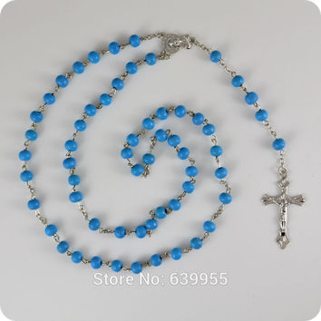 Turquoise Blue Wood Rosary Beads INRI JESUS Cross Crucifix Pendant Necklace Blessed Virgin Mary Catholic Religious jewelry